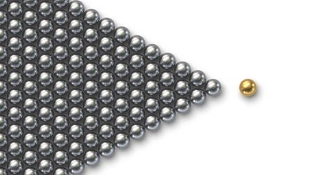 Leadership concept. Gold leader ball standing out from the crowd of silver balls Stock fotó