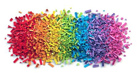 Pile of colorful rainbow toy bricks isolated on white background. Educational toy for children. 3d rendering Stock fotó