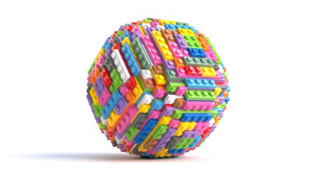 Colored toy bricks in form of sphere isolated on white background. 3d rendering
