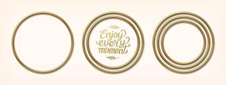 Set of golden circular frames. Luxury border or banner