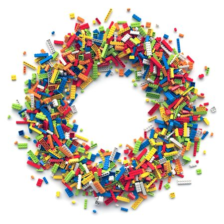 Circle frame of colored toy bricks with place for your content Stock fotó