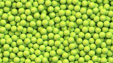 Huge amount of greed tennis balls lying in a pile. Realistic vector background Foto de archivo - 135401292