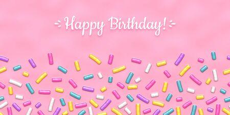 Seamless background of pink candy donut glaze with many decorative sprinkles