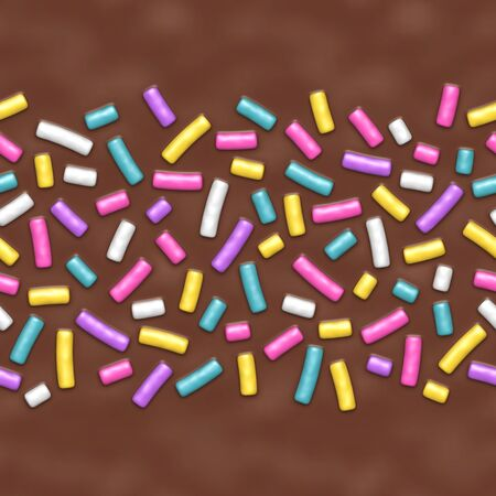Seamless background of chocolate donut glaze with many decorative sprinkles Ilustracja