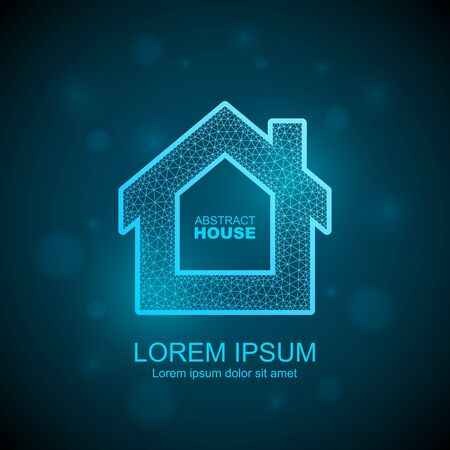 Abstract house wireframe icon. Smart home automation concept