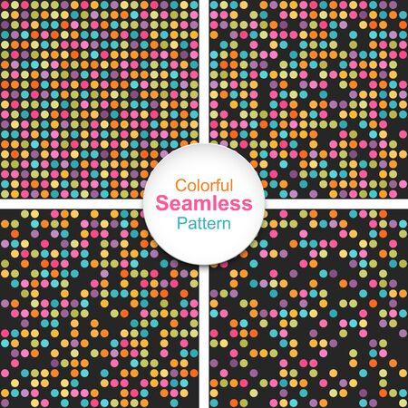 Set of abstract colorful dotted seamless backgrounds