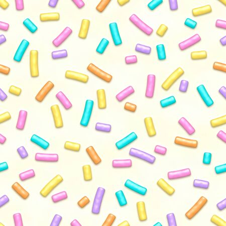 Seamless pattern of white donut glaze with many decorative sprinkles
