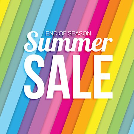 Summer sale on colorful striped seamless background Vettoriali