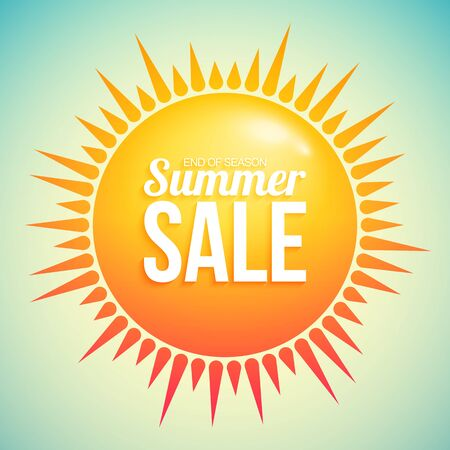 Summer sale with hot abstract sun with rays