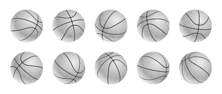 Set of blak and white basketball balls icons with leather texture in different positions