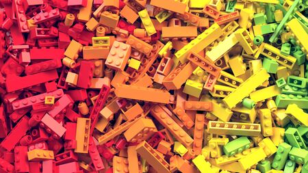 Colorful toy bricks background. Educational toys for children Archivio Fotografico