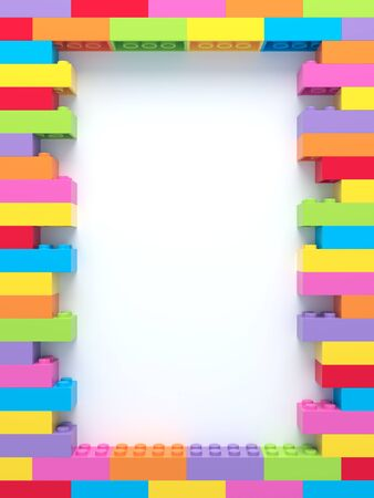 Frame of stacked colorful toy bricks on white background. 3d rendering