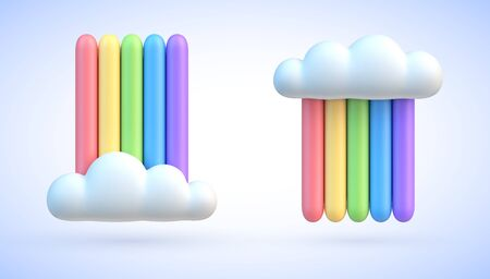 Colorful rainbow with clouds 3d vector illustration Vettoriali