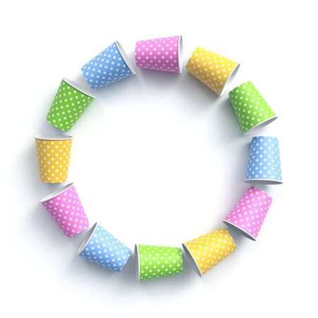 Colorful paper cups with polka dot pattern arranged in circle frame