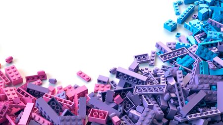 Colorful toy bricks scattered on white background Archivio Fotografico