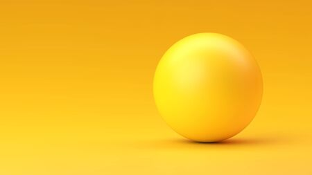 Yellow sphere with shadow on yellow gradient background Vettoriali