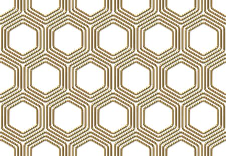 Seamless pattern with golden hexagons on white background