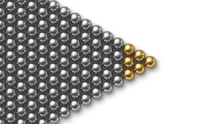Leadership concept. Gold leader balls with crowd of silver balls