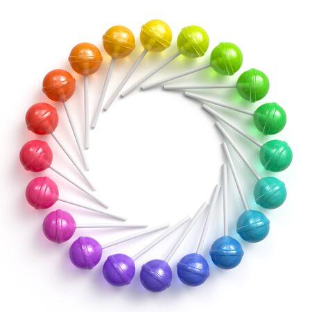 Sweet multicolored lollipops arranged in circle frame Archivio Fotografico