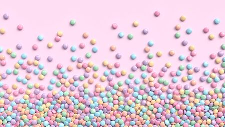 Colorful coated chocolate candies in pastel tones scattered on pink background. 3d rendering Zdjęcie Seryjne