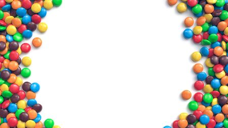 Double border of colorful coated chocolate candies on white background. 3d rendering