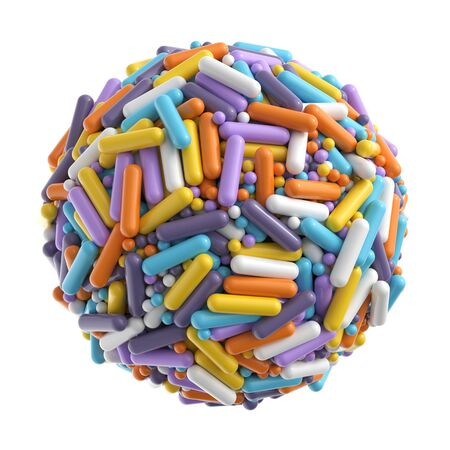 Sphere made of random colorful balls and capsules isolated on white background Zdjęcie Seryjne