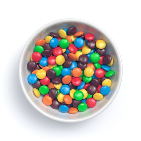 Colorful coated chocolate candies in white bowl isolated on white background. 3d rendering Zdjęcie Seryjne