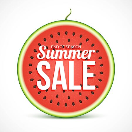 Summer sale on watermelon slice isolated on white background