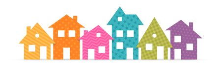 Colorful suburban houses flat icon. Vector illustration Vettoriali