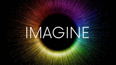 IMAGINE word written on black background with colorful rainbow streaks and glowing sparkling particles Vetores
