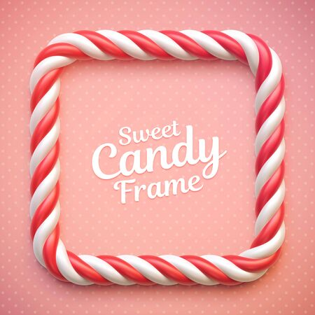 Candy cane frame on polka dot background