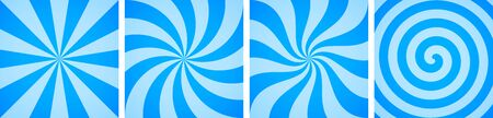 Set of sweet blue candy abstract vector backgrounds in flat style