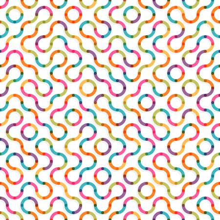 Abstract colorful seamless truchet wavy lines background. Easy to change colors
