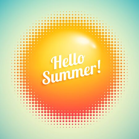 Hello Summer inscription with abstract halftone sun