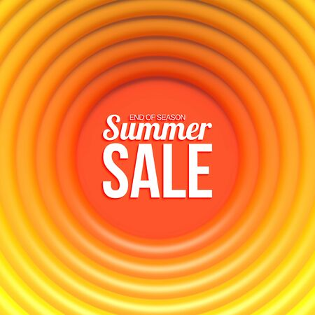 Summer sale banner. Abstract background with hot glossy rings and place for your content