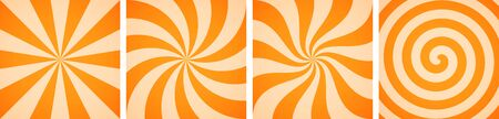 Set of sweet orange candy abstract vector backgrounds Vettoriali