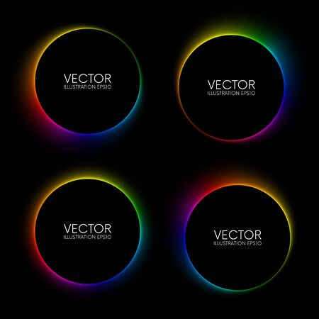 Set of colorful glowing blurry circle banners on black background Ilustracja