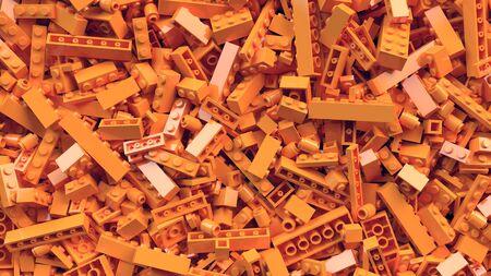 Pile of orange toy bricks in different sizes. 3d rendering