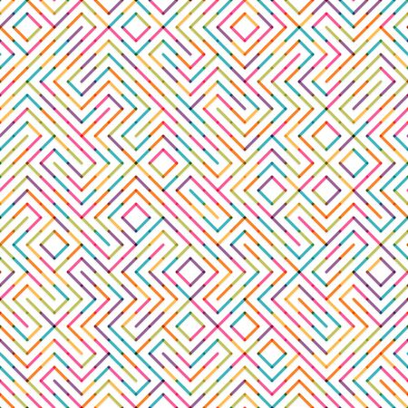 Abstract colorful lines labyrinth seamless background. Easy to change colors Ilustracja