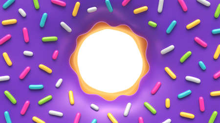 Purple glazed donut with colorful sprinkles and place for your content Archivio Fotografico