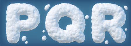 Snowy alphabet with letters P, Q, R. Lettes made of snow. Winter font isolated on blue background Archivio Fotografico