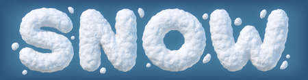 Word SNOW made of snow isolated on blue background