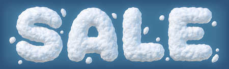 Word SALE made of snow isolated on blue background