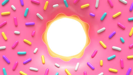 Pink glazed donut with colorful sprinkles and place for your content