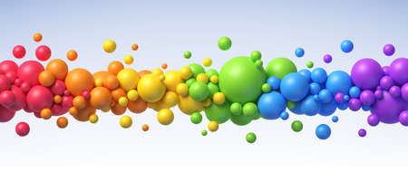 Multicolored flying balls of different sizes vector background Vettoriali