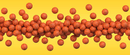 Basketball flying balls. Many orange basketball balls flying over yellow background