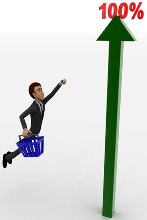upward: man flying upward towards a 100 percentage static arrow graph concept executed on white isolated background
