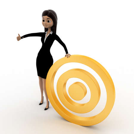 right side: 3d woman with golden target concept on white background, right side angle view