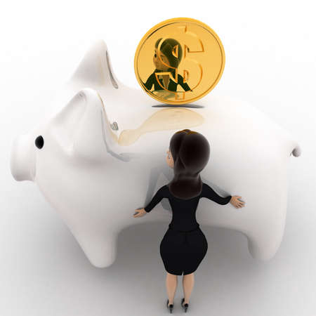 right side: 3d woman with big white piggybank concept on white background, right side angle view