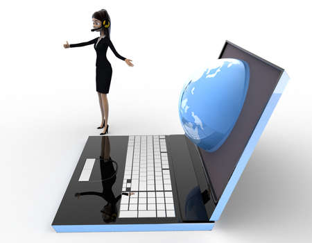 right side: 3d woman prsent earth on laptop screen concept on white background, right side angle view Stock Photo